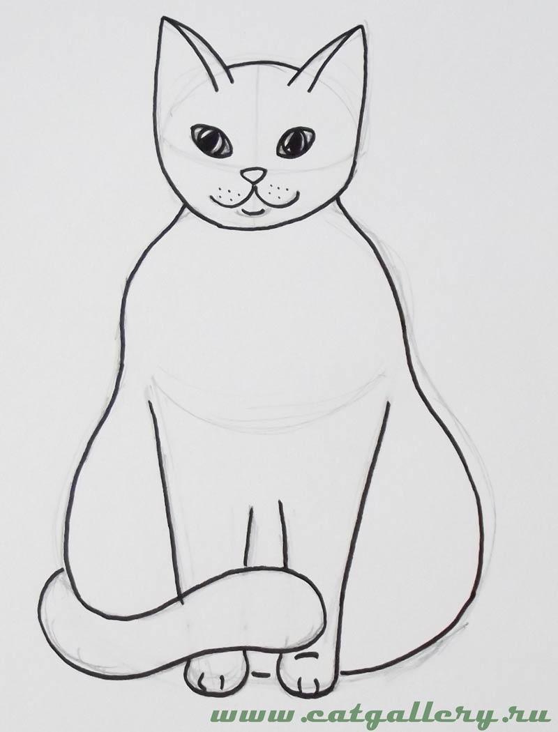 Картинки, как нарисовать кошку на открытке