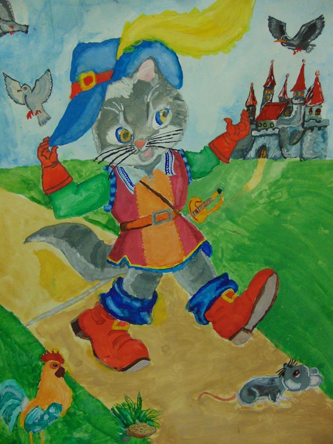 Картинки кота в сапогах из сказки шарля перро рисунок, пара обнимается