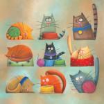Котики на иллюстрациях Каролины Фариас